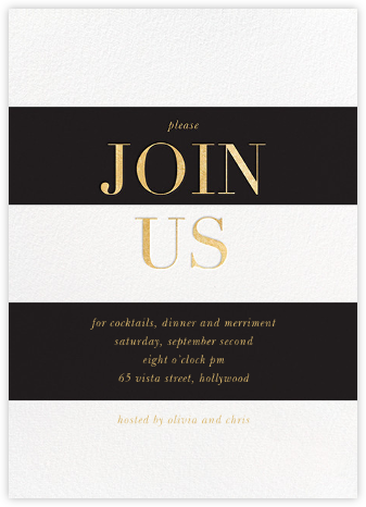 Bold Welcome - Black - Sugar Paper - Business Party Invitations