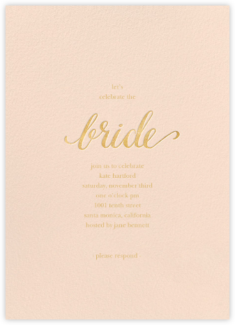 Classic Bride - Pink/Gold - Sugar Paper - Bridal shower invitations