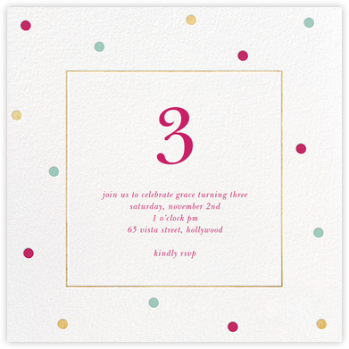 Spotted Frame - White - Sugar Paper - Online Kids' Birthday Invitations