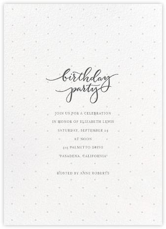 Swiss Dot Birthday - Sugar Paper - Adult Birthday Invitations