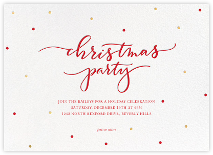Christmas Dots - White - Sugar Paper - Christmas Party Invitations