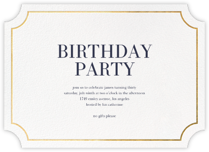 Roosevelt (Horizontal) - Gold - Sugar Paper - Adult Birthday Invitations