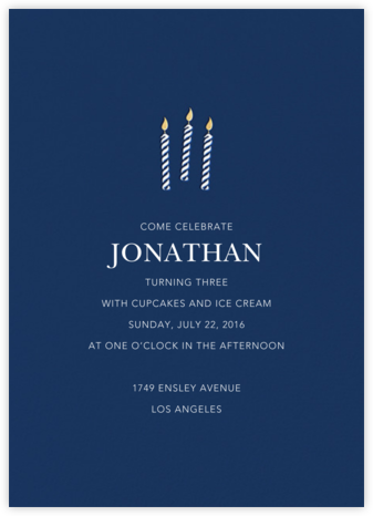 And One for Good Luck (Three) - Dark Blue - Sugar Paper - Online Kids' Birthday Invitations