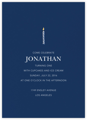 And One for Good Luck (One) - Dark Blue - Sugar Paper - Online Kids' Birthday Invitations