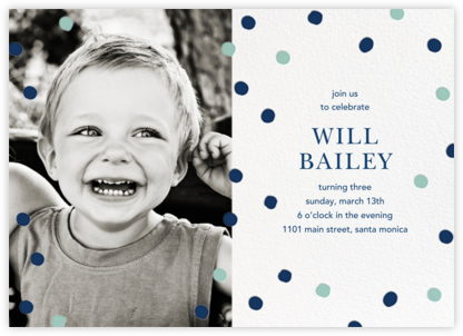 Painted Spots (Photo) - Dark Blue/Blue - Sugar Paper - Online Kids' Birthday Invitations