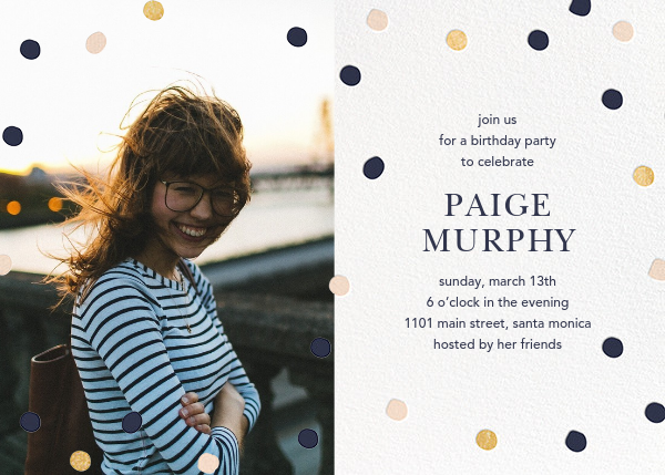 Painted Spots (Photo) - Navy/Gold/Pink - Sugar Paper - Adult birthday invitations