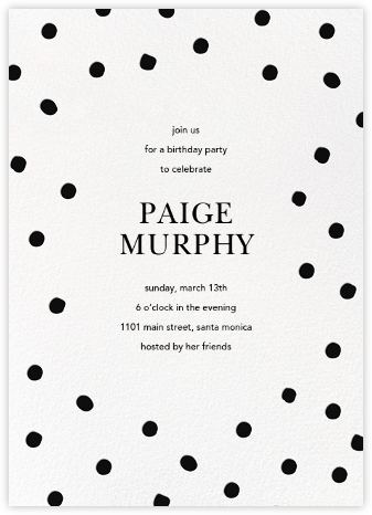 Painted Spots - Black - Sugar Paper - Adult Birthday Invitations