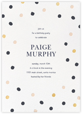 Painted Spots - Navy/Gold/Pink - Sugar Paper - Adult Birthday Invitations