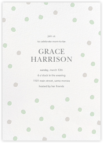 Painted Spots - Mint/Gray - Sugar Paper - Baby shower invitations
