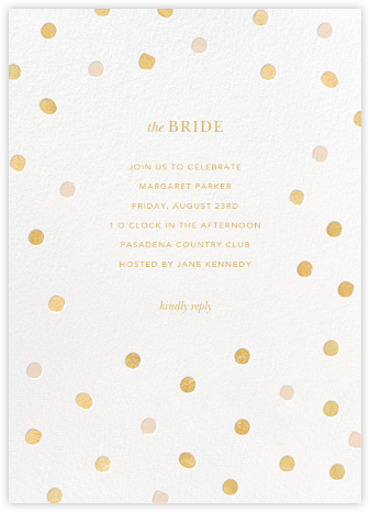 Painted Spots - Gold/Pink - Sugar Paper - Bridal shower invitations