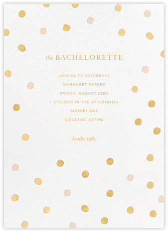 Painted Spots - Gold/Pink - Sugar Paper - Bachelorette Party Invitations