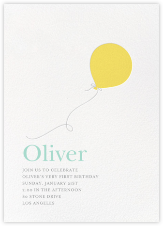 Little Balloon - Yellow - Sugar Paper - Online Kids' Birthday Invitations