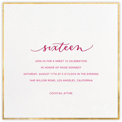 Script Sixteen - Sugar Paper - Sweet 16 invitations