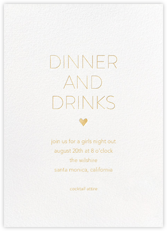 Dinner and Drinks - White - Sugar Paper - Dinner Party Invitations