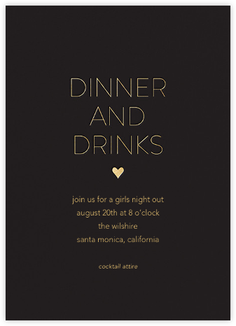Dinner and Drinks - Black - Sugar Paper -