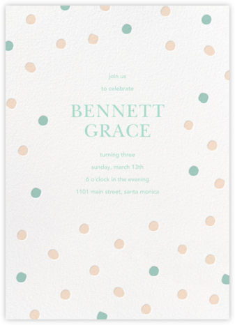 Painted Spots - Pink/Blue - Sugar Paper - First Birthday Invitations