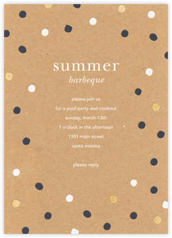 Painted Spots - Kraft - Sugar Paper - Summer Party Invitations