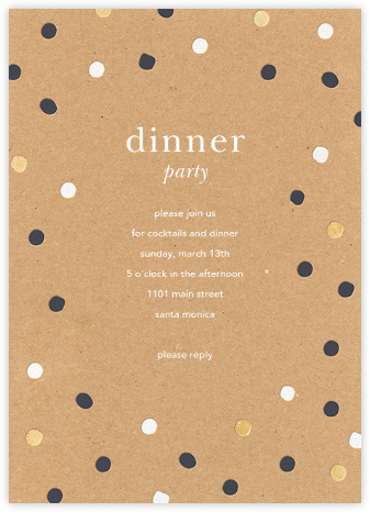Painted Spots - Kraft - Sugar Paper - Dinner Party Invitations