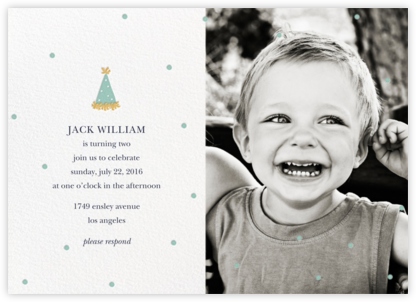 Put on Your Party Hat (Photo) - Blue - Sugar Paper - Kids' birthday invitations