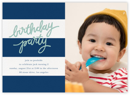 Cabana Birthday (Photo) - Dark Blue - Sugar Paper - Invitations