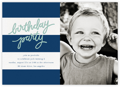 Cabana Birthday (Photo) - Dark Blue - Sugar Paper - Kids' birthday invitations