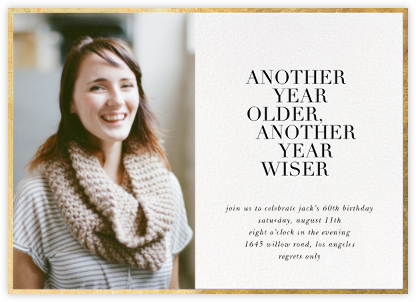 Older and Wiser (Photo) - Sugar Paper - Adult birthday invitations