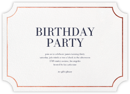 Roosevelt (Horizontal) - Rose Gold - Sugar Paper - Adult Birthday Invitations