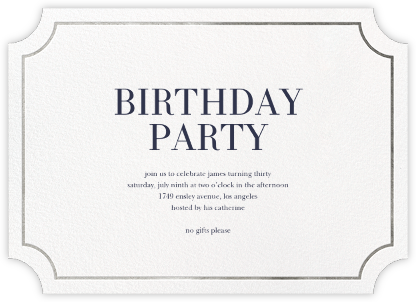 Roosevelt (Horizontal) - Silver - Sugar Paper - Adult Birthday Invitations