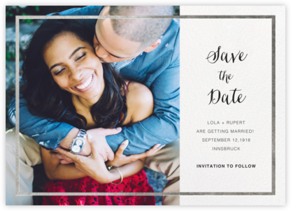 Idylle (Photo Save the Date) - White/Silver - Paperless Post - Gold and metallic save the dates