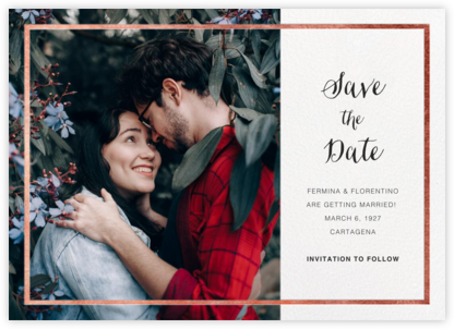 Idylle (Photo Save the Date) - White/Rose Gold - Paperless Post - Save the dates
