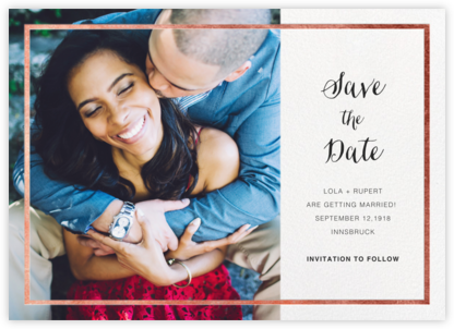 Idylle (Photo Save the Date) - White/Rose Gold - Paperless Post - Photo save the dates