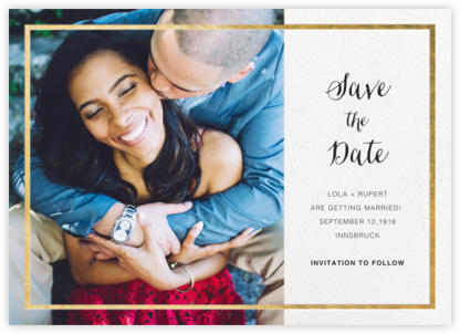 Idylle (Photo Save the Date) - White/Gold - Paperless Post - Save the dates