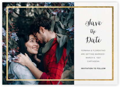Idylle (Photo Save the Date) - White/Gold - Paperless Post - Photo save the dates