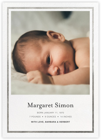Gracile (Announcement) - White/Silver - Paperless Post - Birth Announcements