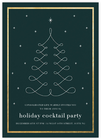 Curlicue Christmas - Spruce/Gold - Paperless Post - Holiday invitations