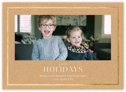 Holiday Finestra (Horizontal) - Kraft/Gold - Paperless Post - Holiday Cards