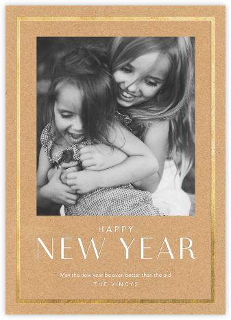 New Year Finestra (Tall) - Kraft/Gold - Paperless Post - New Year cards