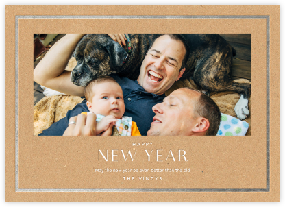 New Year Finestra (Horizontal) - Kraft/Silver - Paperless Post - New Year Cards