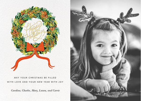 Wintergreen Holiday (Portrait Photo) - Rifle Paper Co. - Holiday cards
