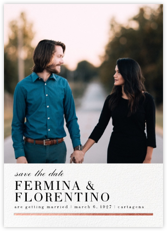 Underscore (Photo Save the Date) - Rose Gold - Paperless Post - Photo save the dates