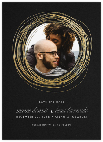 Winter Wreath (Tall Save the Date) - Black/Gold - Paperless Post - Save the dates
