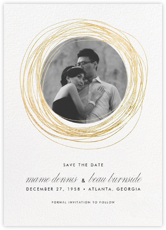 Winter Wreath (Tall Save the Date) - White/Gold - Paperless Post - Save the dates