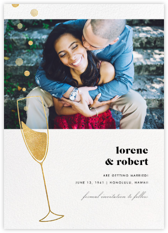 Champagne Bubbles (Photo) - Gold - Paperless Post - Photo save the dates