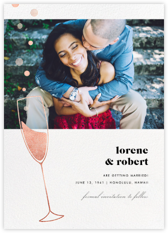 Champagne Bubbles (Photo) - Rose Gold - Paperless Post - Photo save the dates