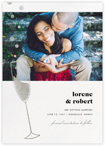 Champagne Bubbles (Photo) - Silver - Paperless Post - Save the Date with Photo