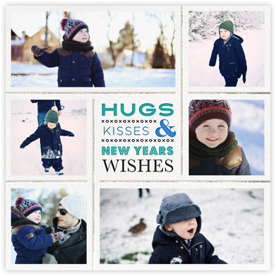 Kisses & Wishes (Photo) - Blue/Silver - Jonathan Adler - New Year cards