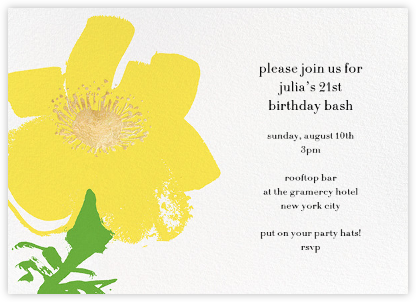 Yellow Poppies - kate spade new york - Adult Birthday Invitations