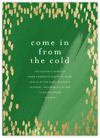 Dappled - Green/Gold - Ashley G - Winter Party Invitations