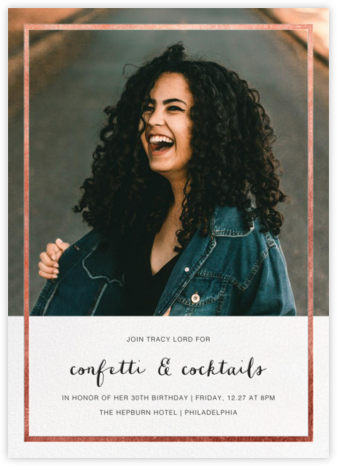 Idylle (Photo) - Rose Gold - Paperless Post - Adult Birthday Invitations