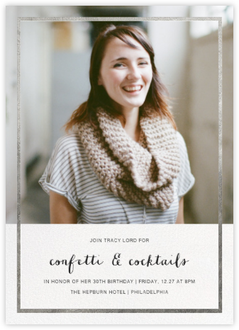 Idylle (Photo)  - Silver - Paperless Post - Adult birthday invitations